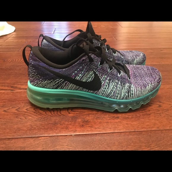 free shipping 62eea e355d coupon for nike flyknit air max 360 purple teal sneakers 8.5 7456e b70e7